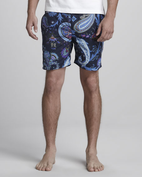 Paisley Swim Trunks, Blue