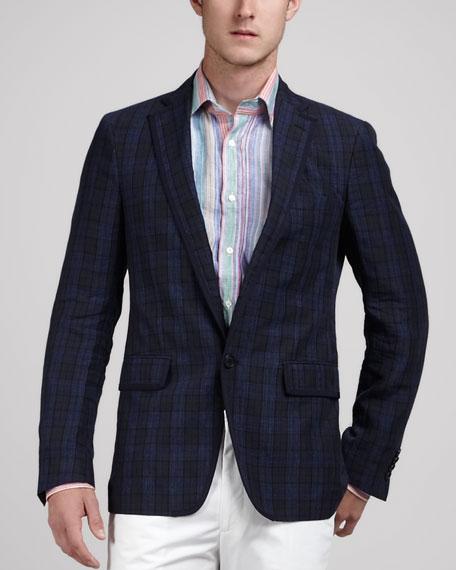 Plaid Linen Sport Coat