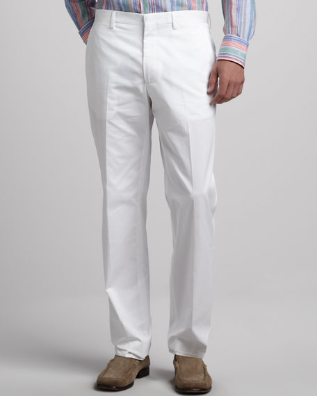 Flat-Front Cotton Pants, White