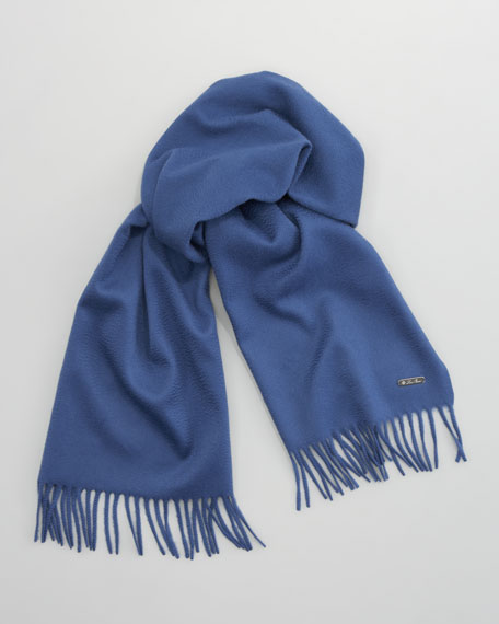 Piccola Solid Cashmere Scarf, Blue
