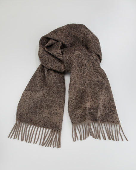 Printed Paisley Cashmere Scarf