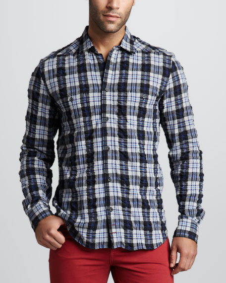 Two-Pocket Plaid Shirt, Black