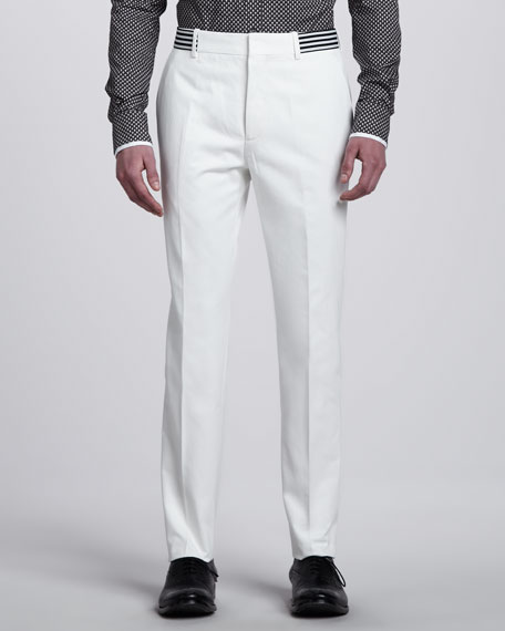 Slim Pants with Striped Waistband, White
