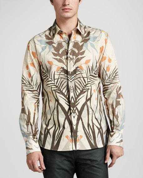 Leaf-Print Sport Shirt