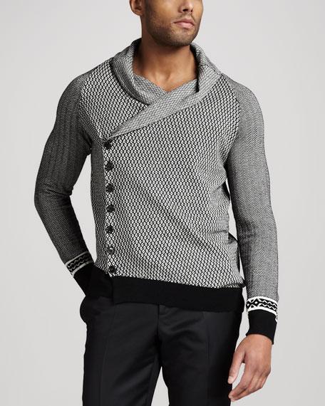 Patterned Asymmetric Cardigan