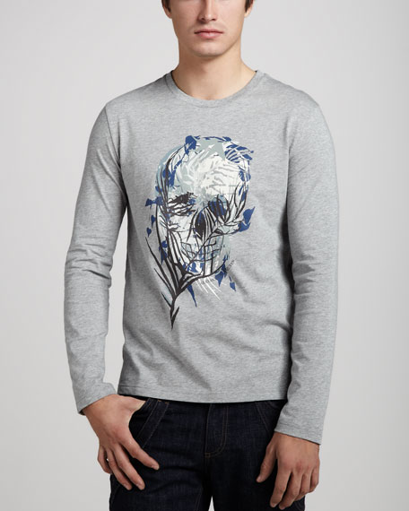 Skull-Print Long-Sleeve Tee
