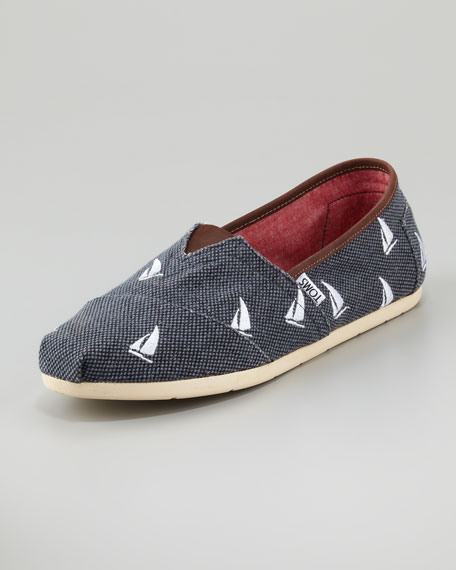 Navy Sailboats Slip-On