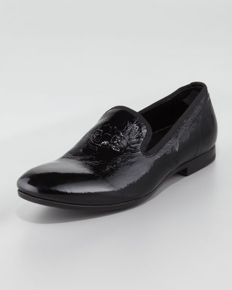 Skull-Embossed Patent Loafer, Black