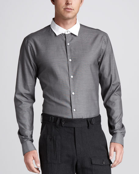 Slim Contrast-Collar Shirt