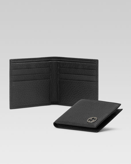 Leather Bi-Fold Wallet, Black