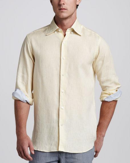 Linen Sport Shirt, Yellow