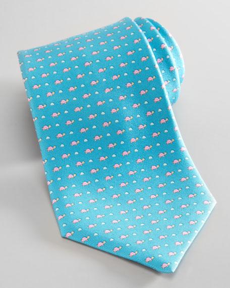 Turtle-Print Silk Tie, Aqua