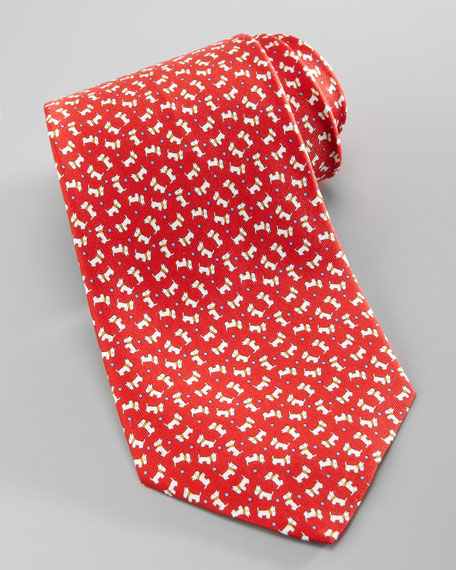 Scottie Dog with Ball Tie, Red