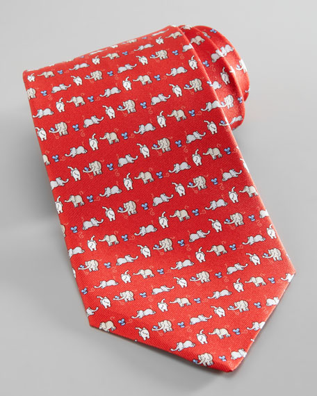 Elephant & Mouse Tie, Red
