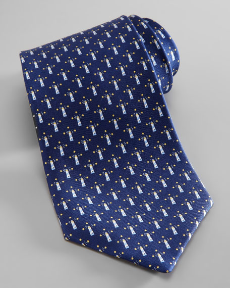 Lighthouse-Print Silk Tie
