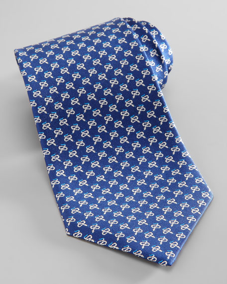 Snake-Print Silk Tie, Navy