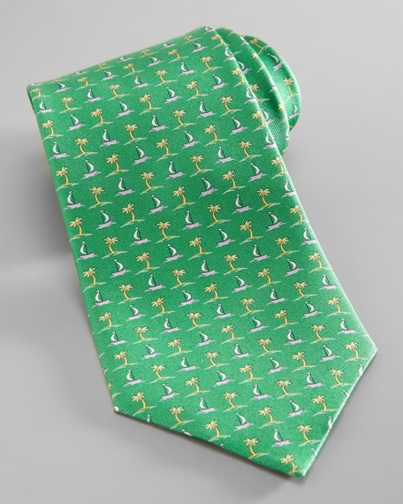 Palm Tree & Boat Tie, Green