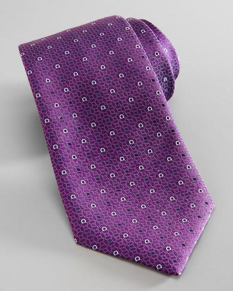 Gancini-Print Tie, Purple