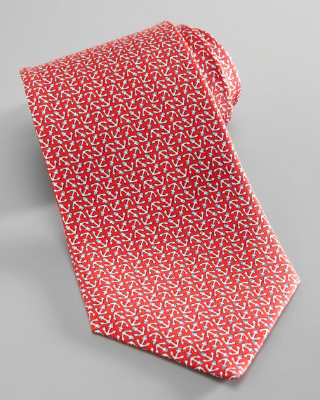 Anchor-Print Silk Tie, Red