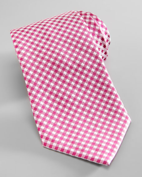 Dot-Back Gingham Silk Tie, Pink/White