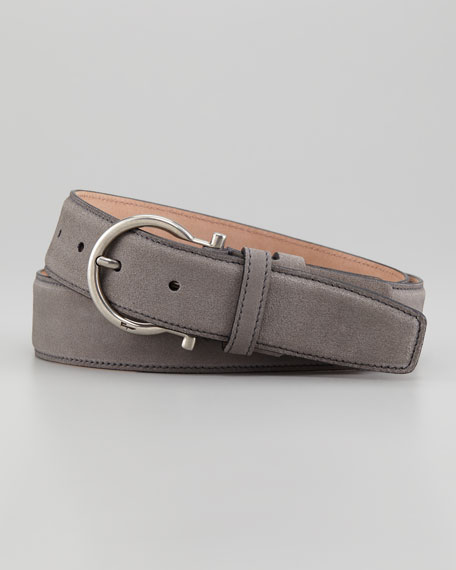 Gancini Suede Belt, Gray