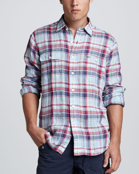 Classic-Fit Plaid Linen Shirt