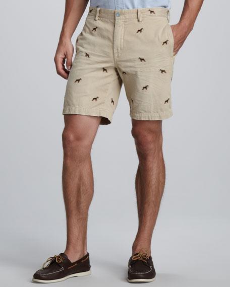 Beagle-Embroidered Shorts