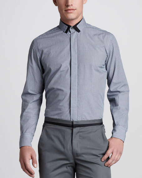Contrast-Trim Check Shirt