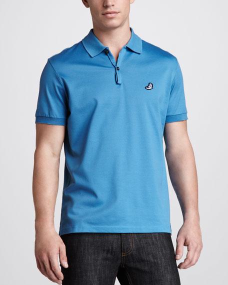 Sneaker-Logo Jersey Polo, Blue