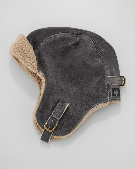 Leather Fur-Lined Trapper Hat
