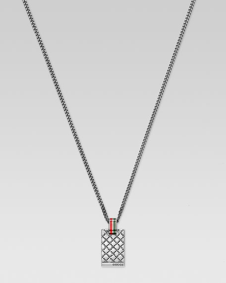 Diamante Web Dog Tag Necklace