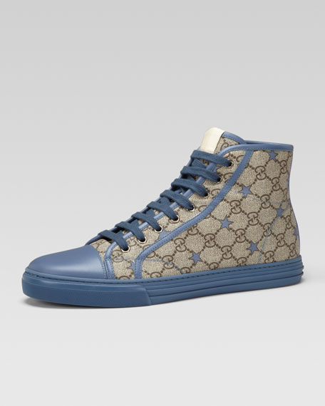 California GG PU Stars Fabric High-Top Sneaker