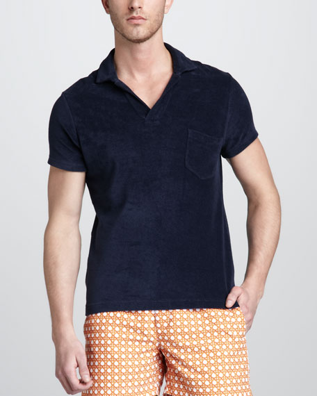 Terry Toweling Polo, Navy