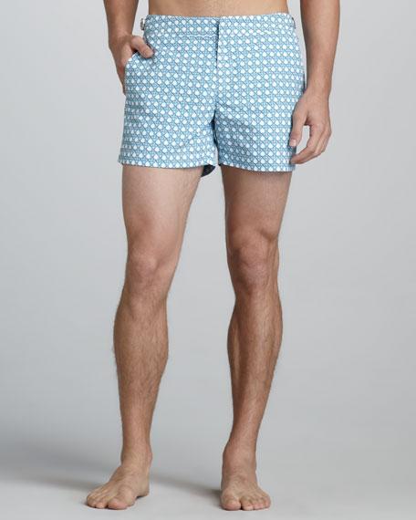Wicker-Print Swim Shorts, Blue
