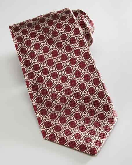 GG-Print Tie, Burgundy/Beige