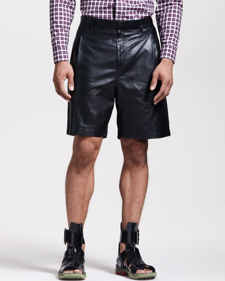 Leather-Front Bermuda Shorts