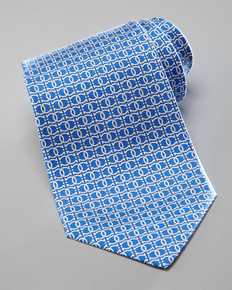 Interlock Gancini Silk Tie, Blue