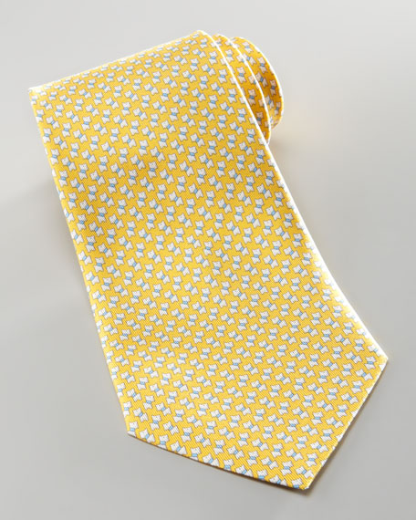 Mini-Schnauzer Silk Tie, Yellow