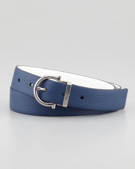 Reversible Gancini Belt, Blue/White