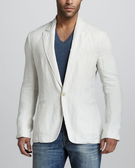 Linen One-Button Blazer