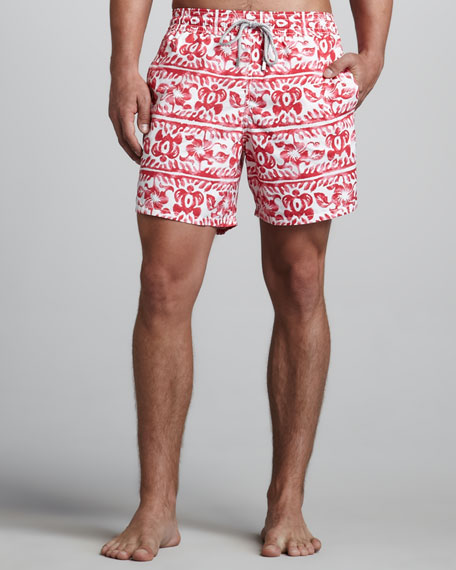 Moorea Turtle-Print Swim Trunks