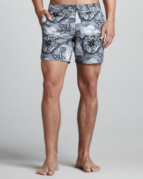 Merise Stingray-Print Swim Trunks