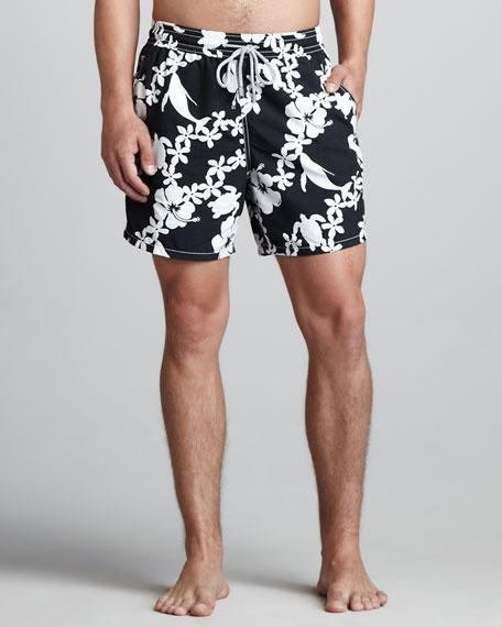 Okoa Whale-Print Boardshorts