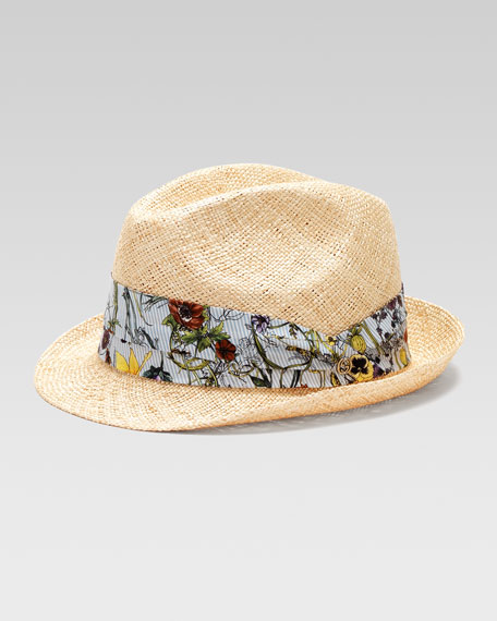 Ribbon-Trim Straw Fedora Hat