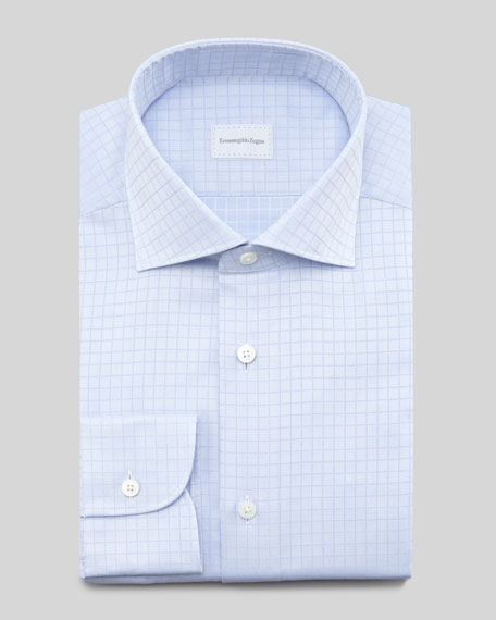 Tonal-Check Dress Shirt, Light Blue
