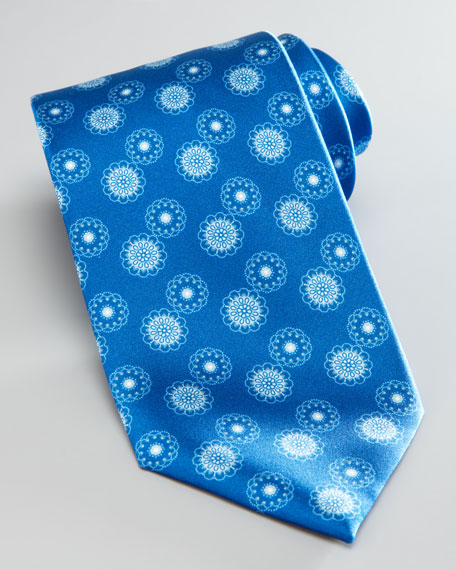 Medallion Silk Tie, Royal Blue