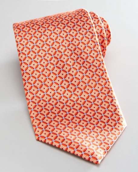 Neat Medallion Silk Tie, Orange