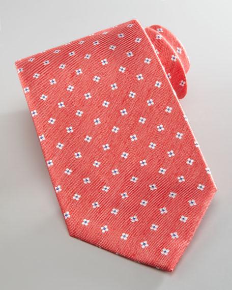 Floral Silk Tie, Coral/Blue