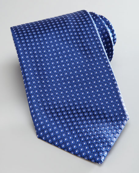 Dot-Print Silk Tie, Navy/White