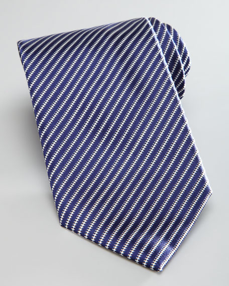 Thin-Striped Silk Tie, Navy